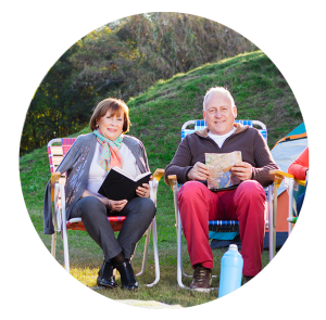 circle image of family at trading post