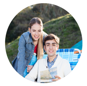 couple at the trading post campsite